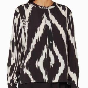 Theory Isalva interlace ikat silk blouse